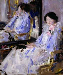 Francis Campbell Boileau Cadell - 在蓝夫人