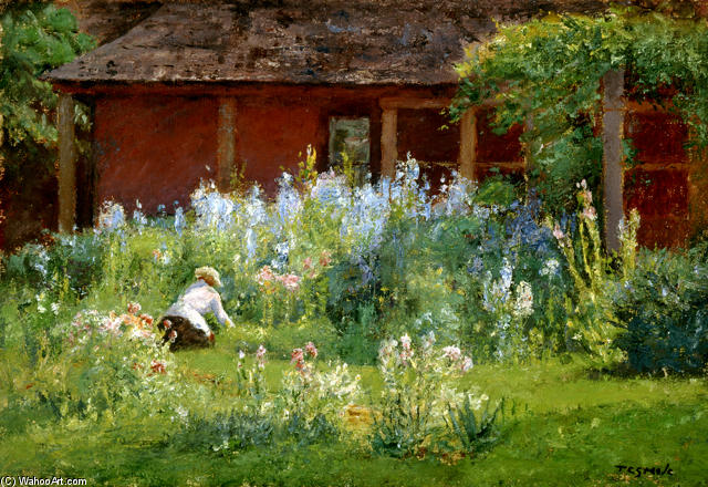 order oil painting impressionism : selma in the garden (flower
